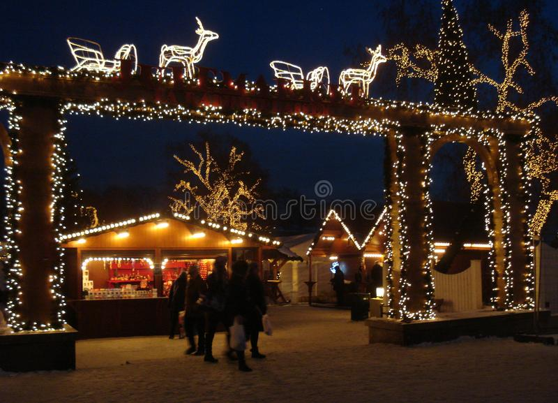Вход к рождественской ярмарке в Осло стоковые изображения