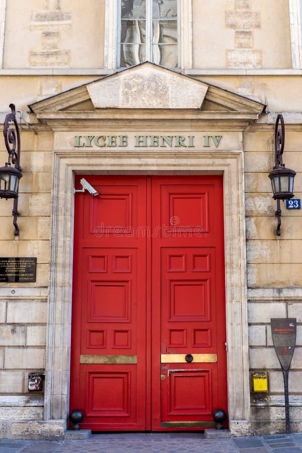 Вход к Lycee henri-IV - Парижу, Франции стоковое изображение rf