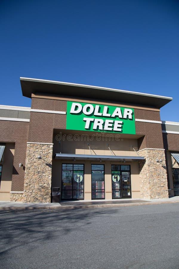 Вход магазина дерева доллара стоковое изображение