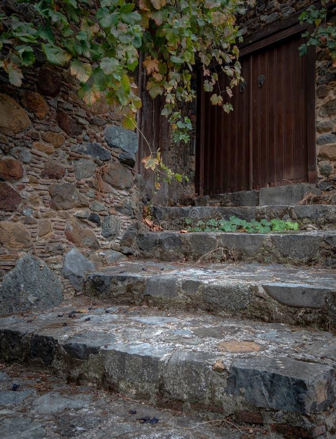 Вход получившегося отказ дома с закрытыми деревянными дверями и облицеванными лестницами стоковые фото