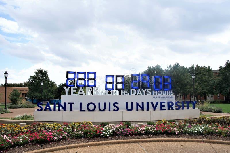 Вход университета Сент-Луис, Сент-Луис Миссури стоковые изображения rf