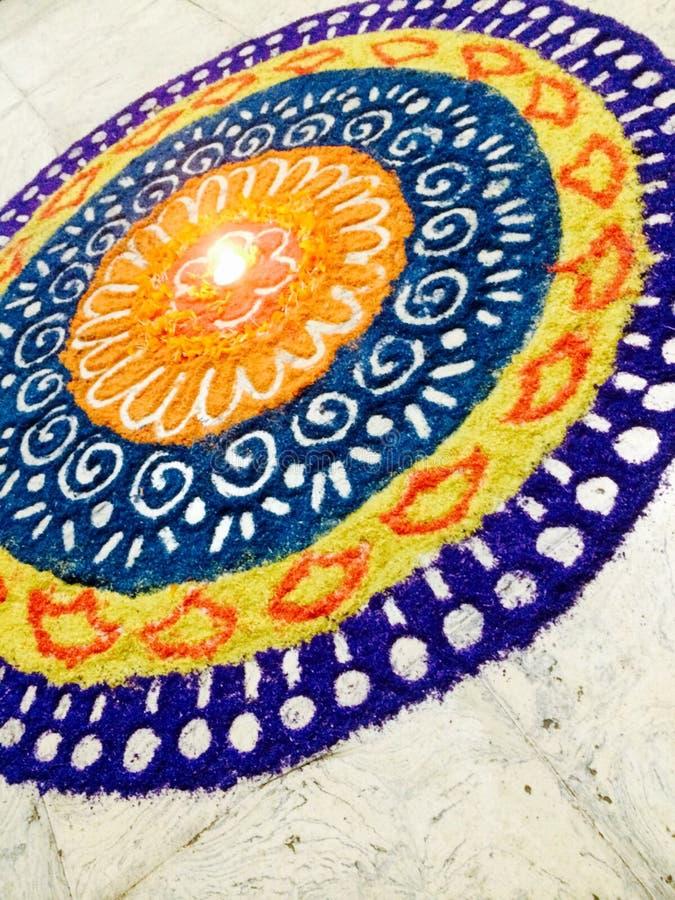 Вход Rangoli-A красочный стоковое фото rf