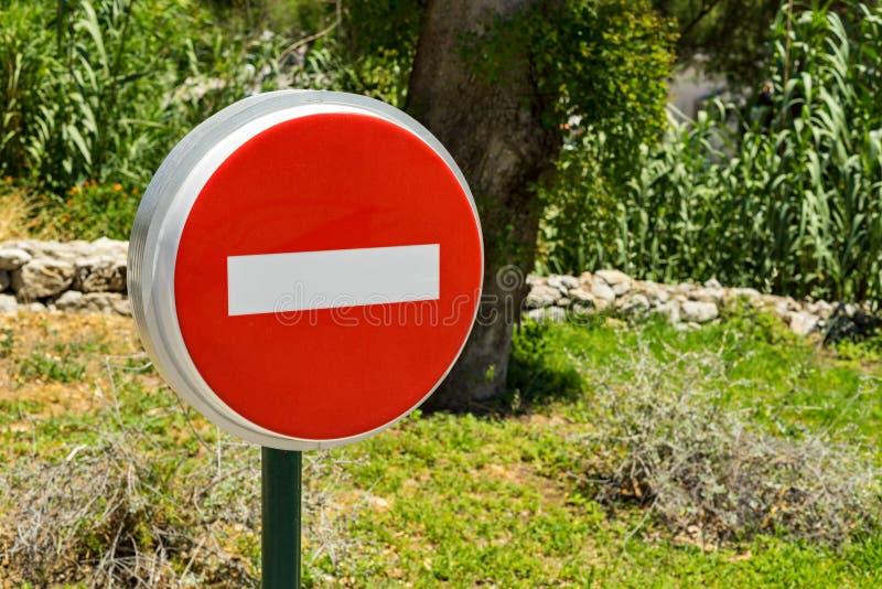 Вход знака улицы запрещен стоковое фото rf