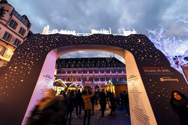 Вход к выставке стойки Люксембурга во время рождества Марк стоковые фотографии rf