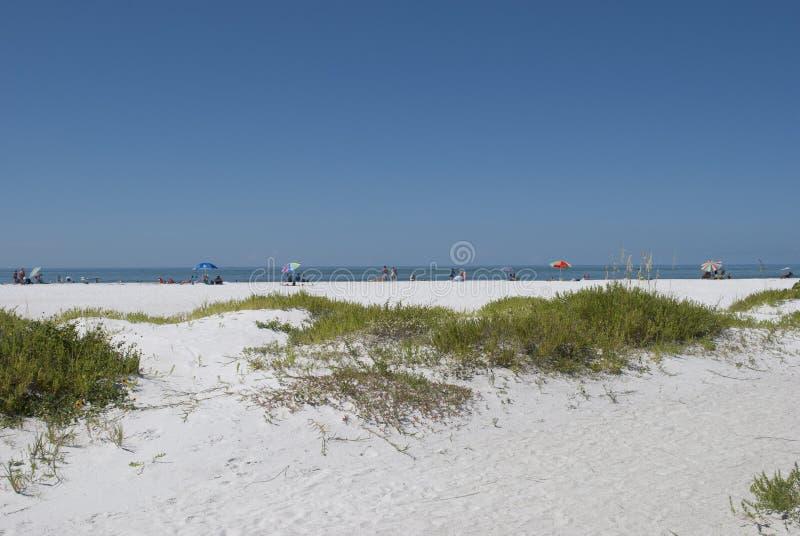 Вход к пляжу рая в Флориде Пляж ключа Lido Люди в расстоянии расслабляющие в солнечном дне на белом песочном b стоковое изображение