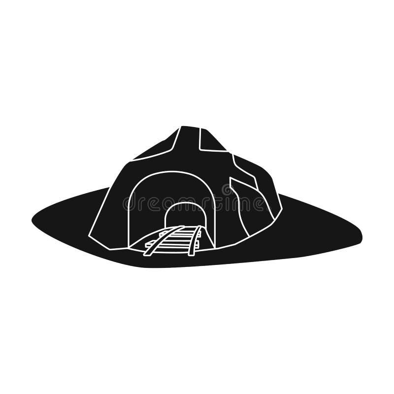 Вход к шахте покрытой с травой Место куда автомобили шахты падают Значок индустрии шахты одиночный в черном стиле бесплатная иллюстрация