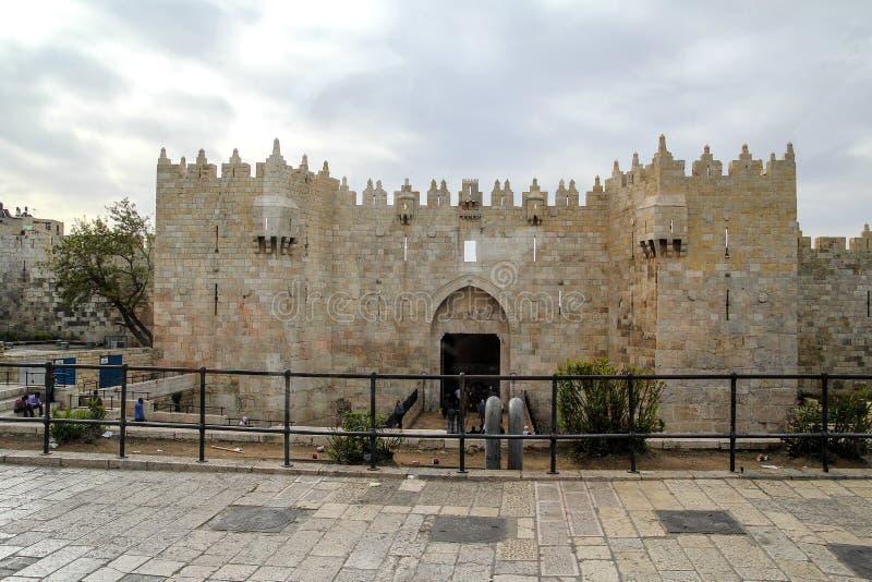 Вход строба Дамаска к старому городу Иерусалиму стоковые фото