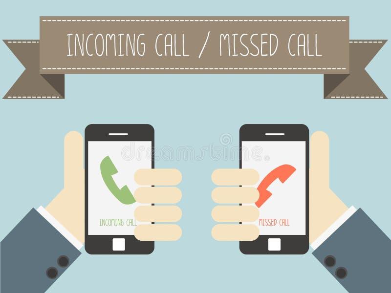 Входящий звонок и пропущенный звонок на smartphone иллюстрация штока