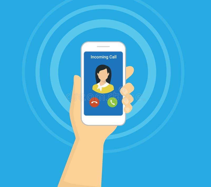 Входящий звонок на экране smartphone Плоская иллюстрация вектора для вызывать обслуживание иллюстрация штока