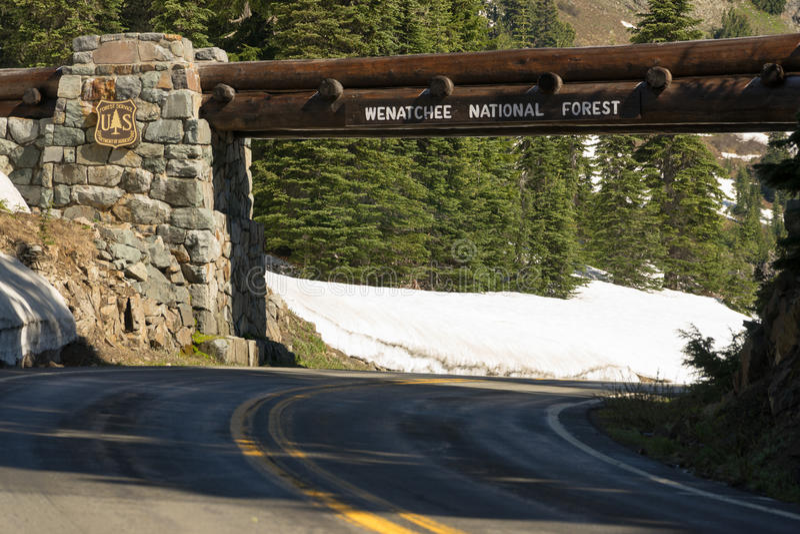 Входя в вход знака обслуживания США национального леса Wenatchee стоковые фото