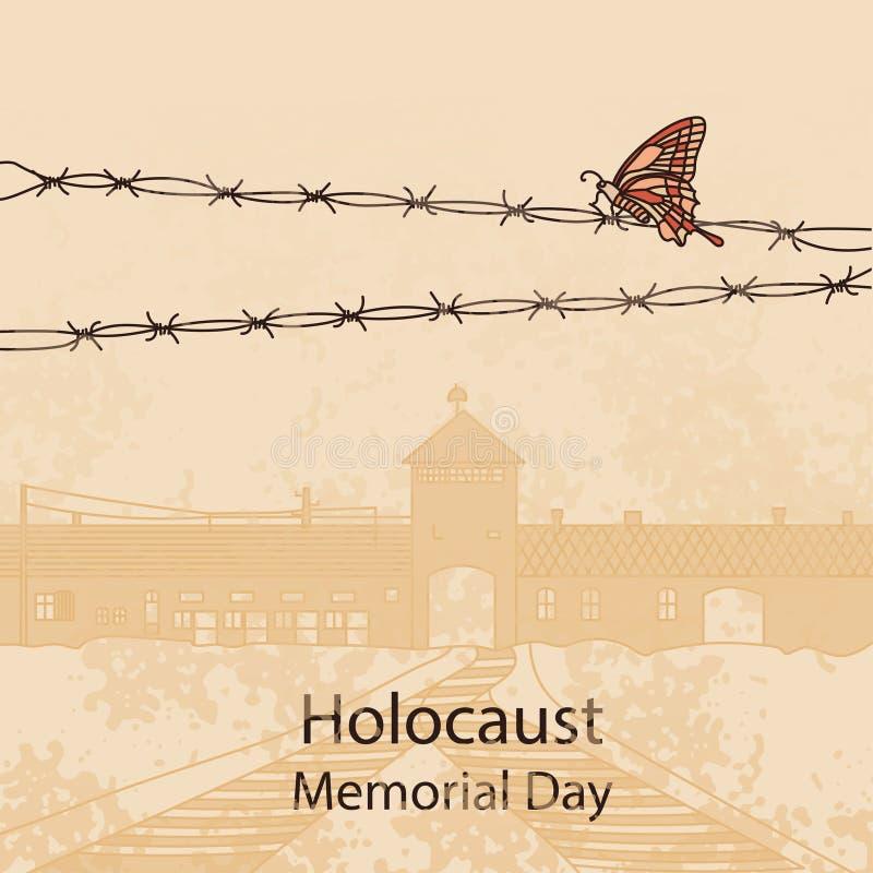 Въездные ворота к Освенциму Birkenau также вектор иллюстрации притяжки corel иллюстрация вектора