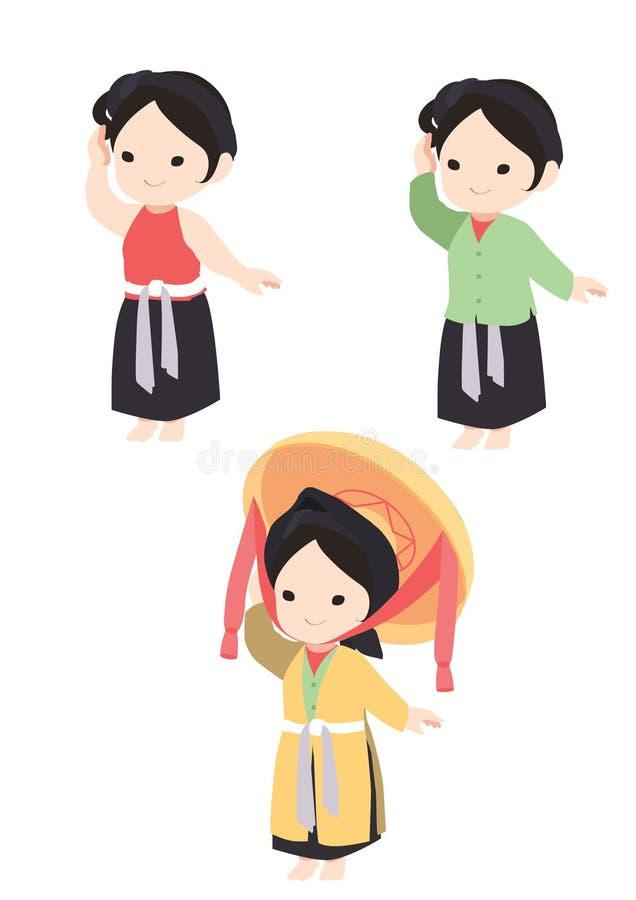 Въетнамская девушка в традиционном четырехголосном платье иллюстрация вектора