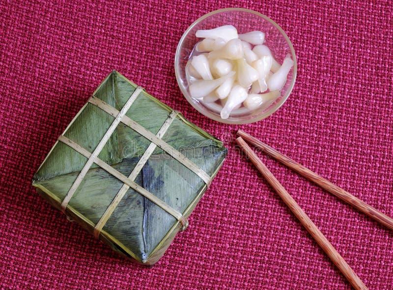 Въетнамская еда, Tet, banh chung, традиционная еда стоковое фото rf