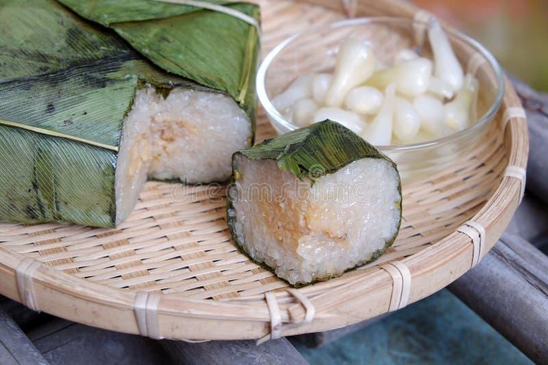 Въетнамская еда, Tet, banh chung, традиционная еда стоковая фотография