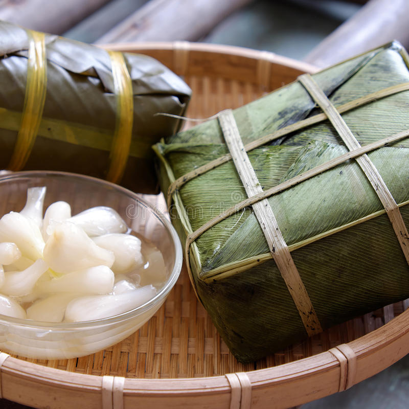 Въетнамская еда, Tet, banh chung, традиционная еда стоковое изображение