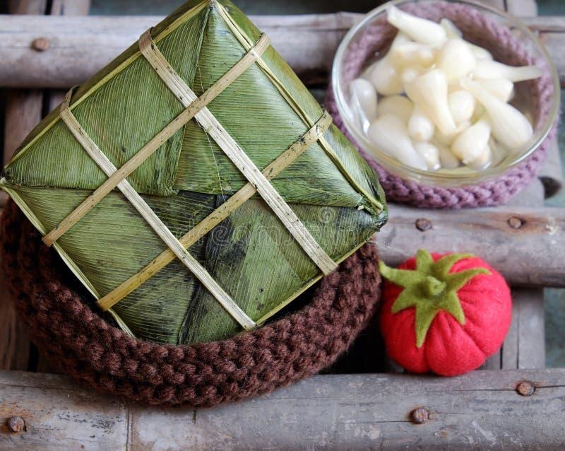 Въетнамская еда, Tet, banh chung, традиционная еда стоковая фотография rf