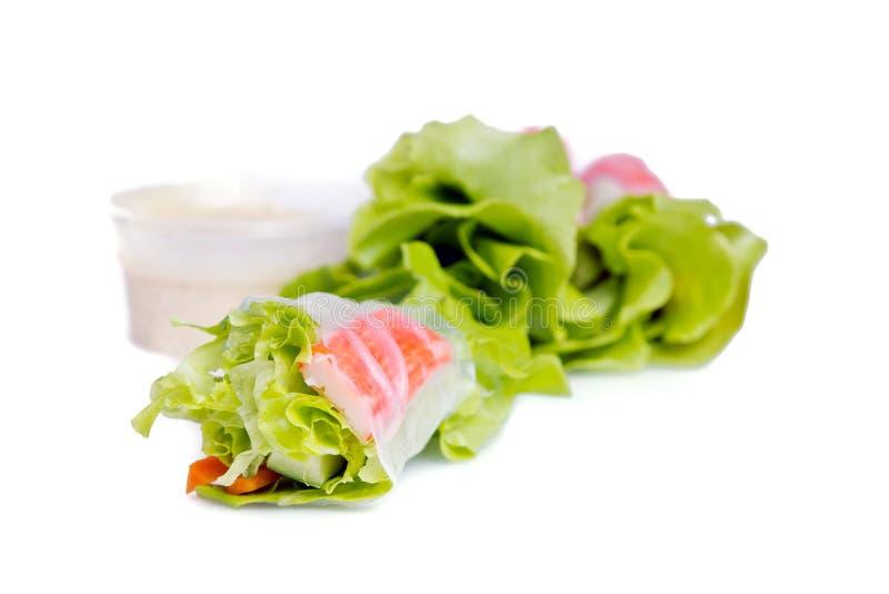 Въетнамский блинчик с начинкой или тайский крен салата с овощем и солью стоковые фотографии rf