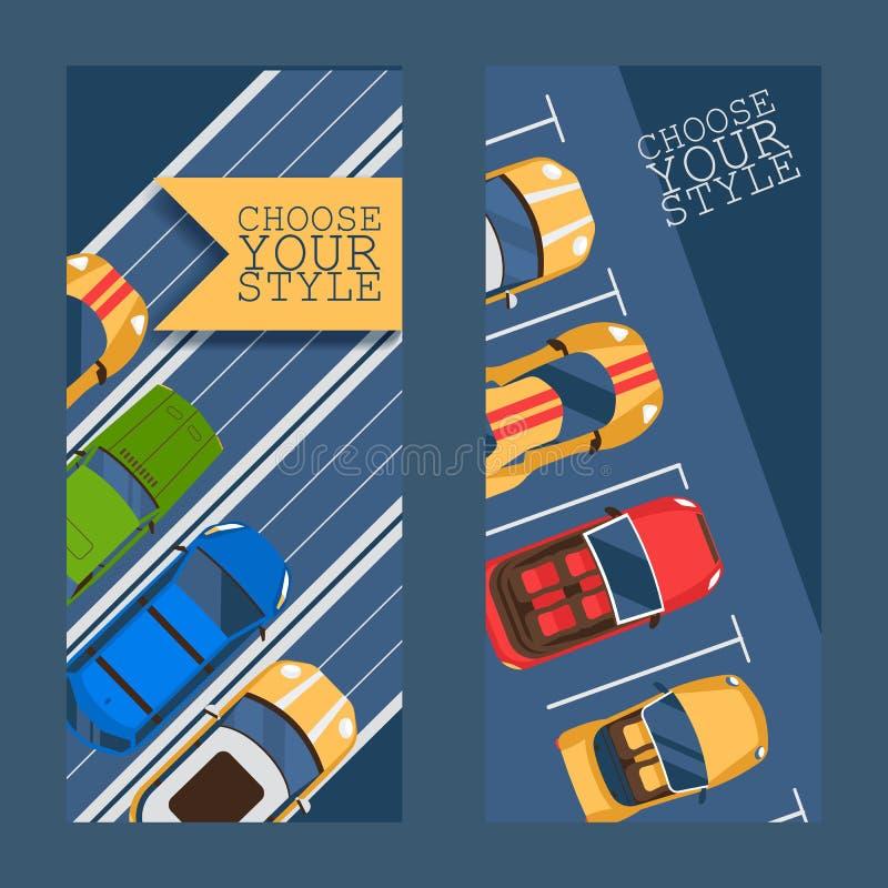 Выберите ваш стиль плоско установите иллюстрации вектора знамен Концепция городского движения, автомобили в зоне стоянки, на откр иллюстрация вектора