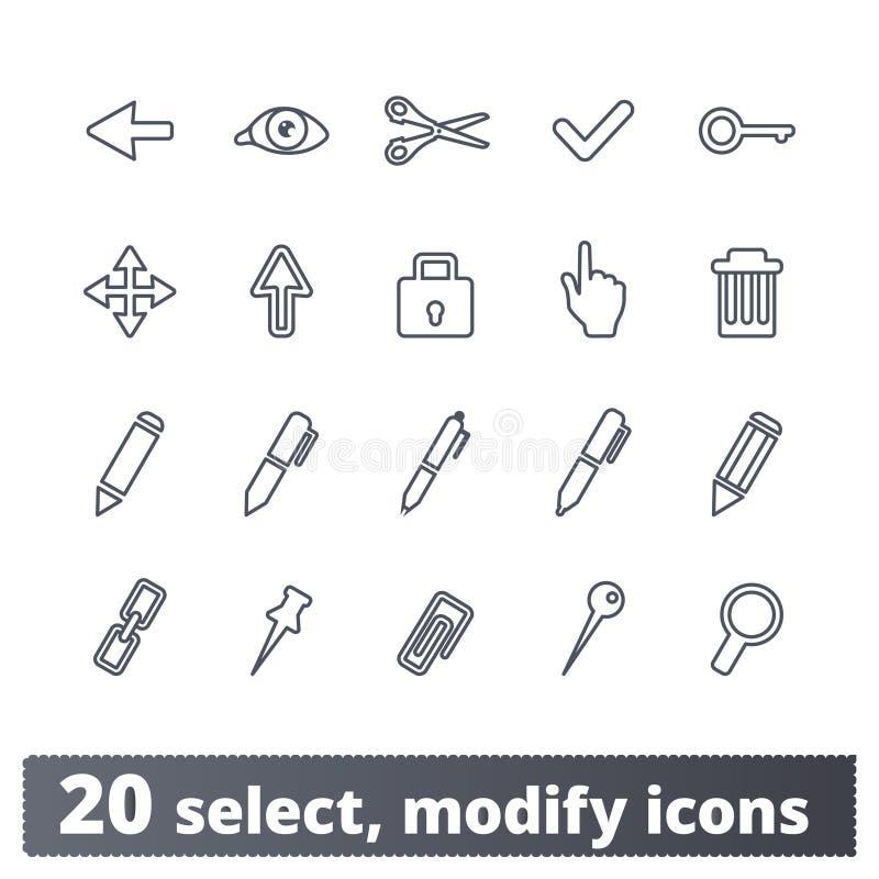 Выберите, доработайте, набор значков инструментов график-дизайнера бесплатная иллюстрация