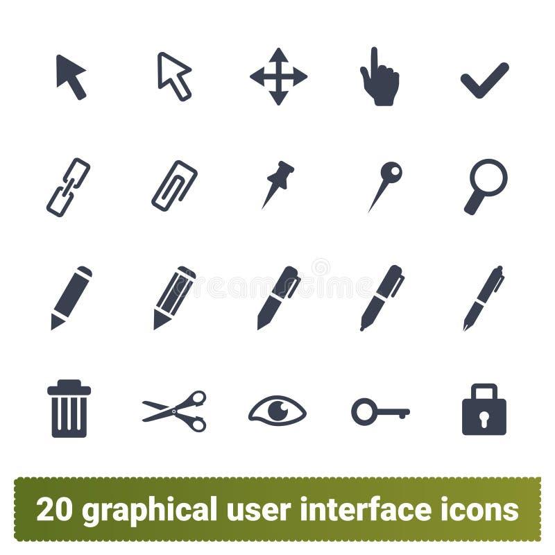 Выберите, доработайте, набор значков инструментов график-дизайнера иллюстрация штока