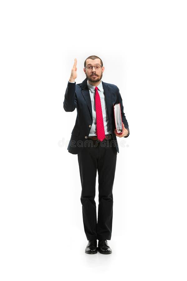 Выберите меня Полный взгляд тела бизнесмена на белой предпосылке студии стоковые изображения