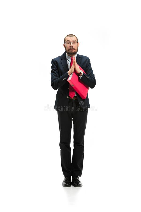Выберите меня Полный взгляд тела бизнесмена на белой предпосылке студии стоковая фотография rf