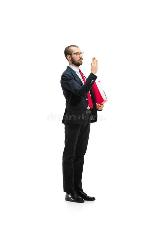 Выберите меня Полный взгляд тела бизнесмена на белой предпосылке студии стоковые изображения rf