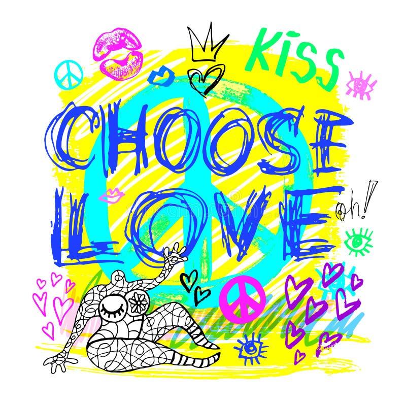 Выберите цвета девушек знака мира любов ультрамодные неоновые, поцелуй, сердца, губы, литерность лозунга Карандаш цвета, отметка, иллюстрация вектора