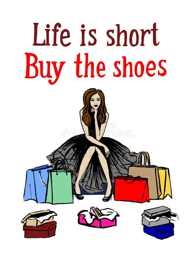 выбирать женщину ботинок иллюстрация штока