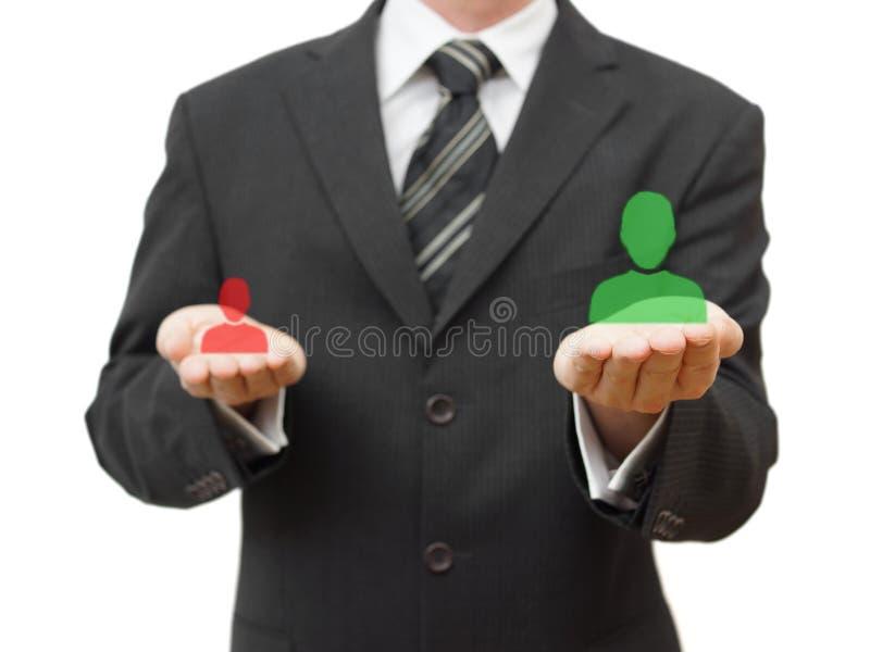 Выбирать правый выбранный для компании стоковые фото