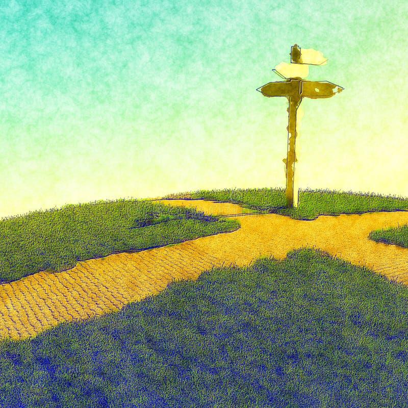 Выбирать путь на перекрестке иллюстрация штока