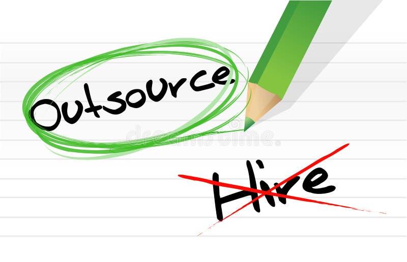 Выбирать Outsource вместо рабочего места иллюстрация вектора