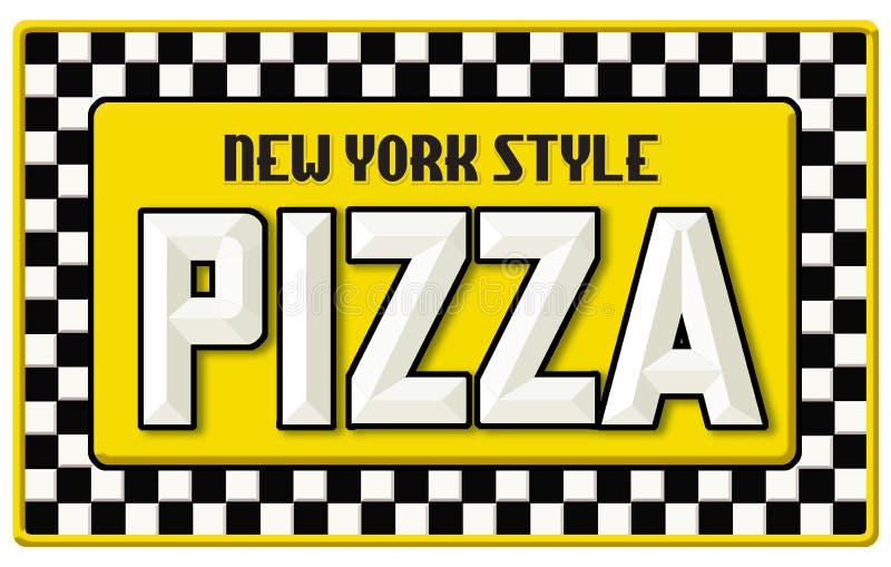 Выбитое олово знака пиццы стиля Нью-Йорка иллюстрация вектора