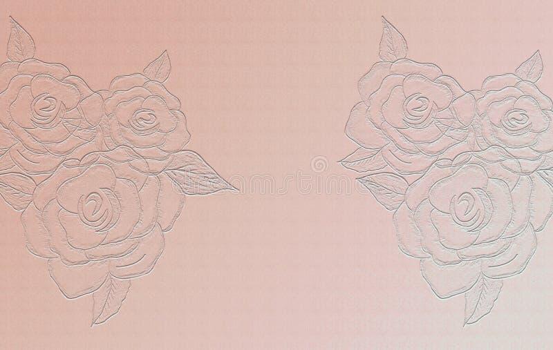 Выбитый поднял на peachy предпосылку Лист чистого листа бумаги для различных художественных произведений Винтажный смотря дизайн иллюстрация вектора