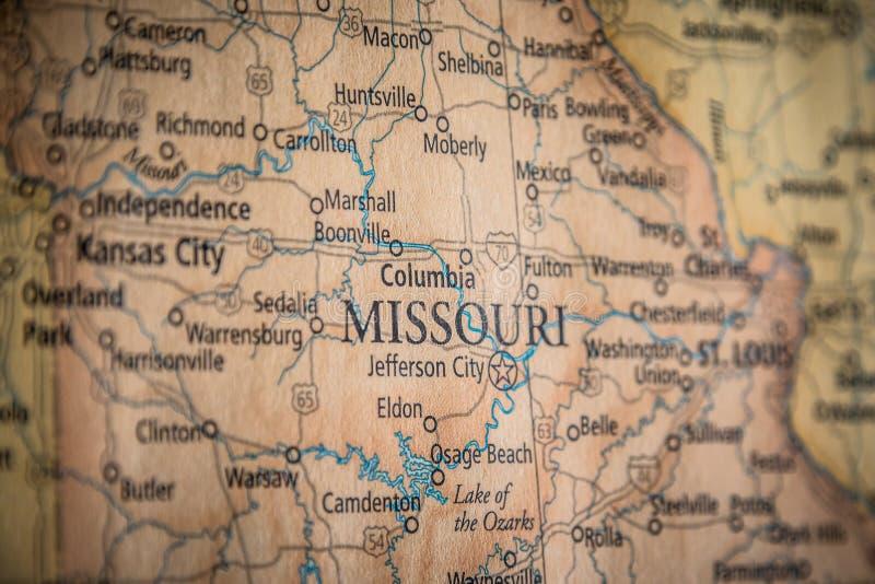 Выборочная Ориентация Государства Миссури На Географическую И Политическую Карту Государства США стоковая фотография