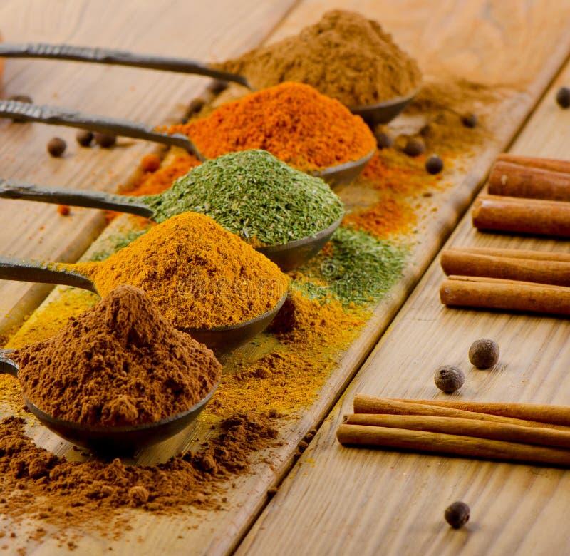 Выбор высушенных специй и ручек циннамона стоковое изображение rf