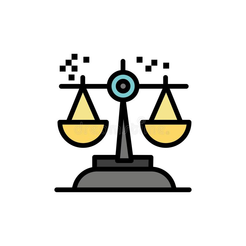 Выбор, заключение, суд, суждение, значок цвета закона плоский Шаблон знамени значка вектора иллюстрация вектора