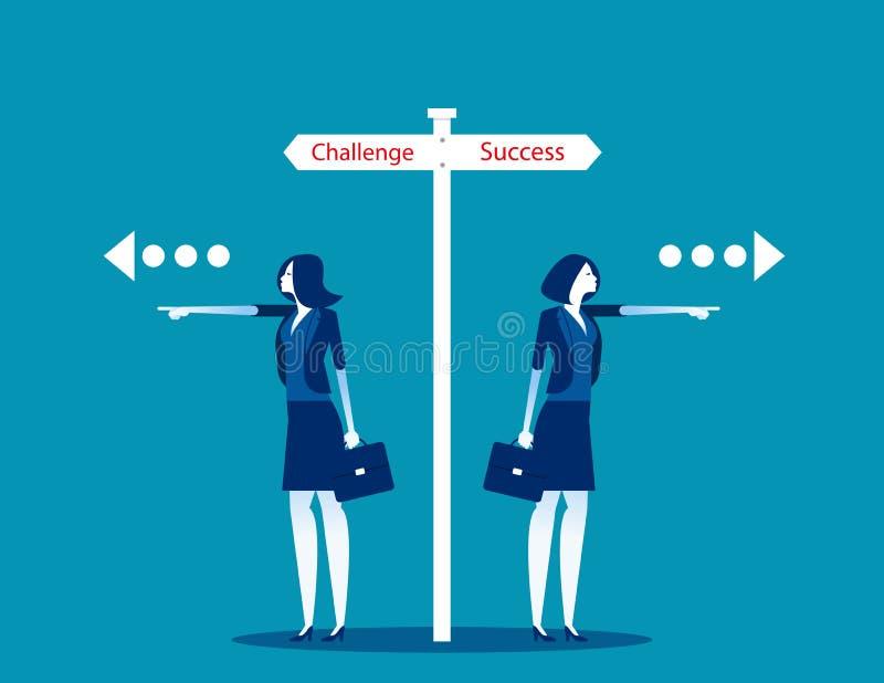 Выбор маршрута для бизнес-лица Понять бизнес-вектор, задачу и успех, направление, выбор иллюстрация штока