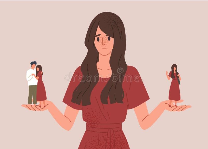 выбор между одиночеством и векторной иллюстрацией концепции отношений Девушка колеблется побыть одна или начать встречаться бесплатная иллюстрация