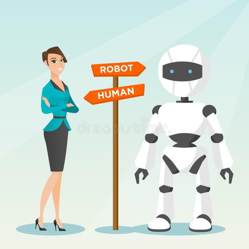 Выбор между искусственным интеллектом и человеком иллюстрация вектора