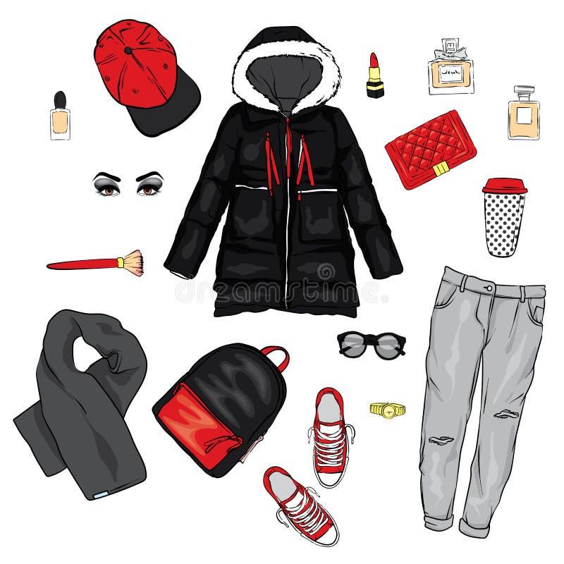 Выбор одежды ` s женщин зимы Куртка, пальто, ботинки, сумка, дух, косметики и другие аксессуары стикеры комплекта архива ai имеющ бесплатная иллюстрация