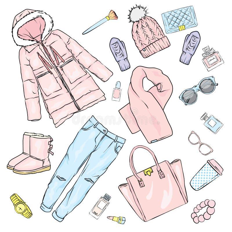 Выбор одежды ` s женщин зимы Куртка, пальто, ботинки, сумка, дух, косметики и другие аксессуары стикеры комплекта архива ai имеющ иллюстрация штока