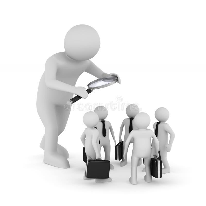 Выбор персонала на белой предпосылке Изолированное illustratio 3D иллюстрация штока