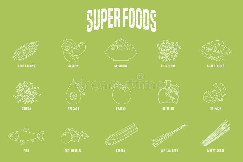 Выбор продуктов superfoods, ягод, зеленых в векторе иллюстрация вектора