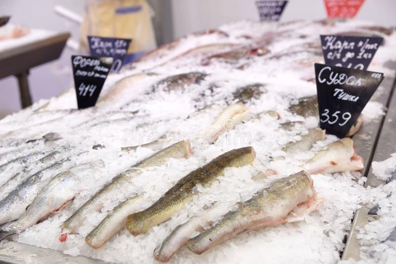 Выбор рыб на дисплее рынка стоковое фото rf