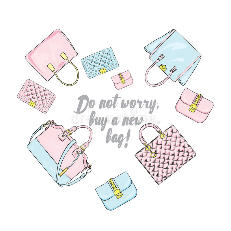 Выбор стильных сумок клал вне в форме сердца Иллюстрация вектора для карточки иллюстрация вектора