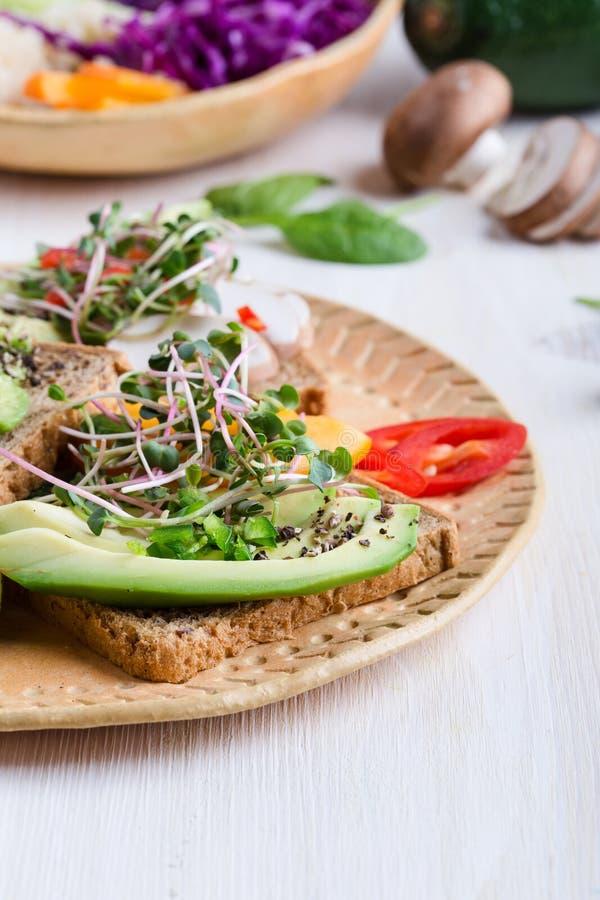 Выбор тостов авокадоа на хлебе зерна Здоровое основанное на завод стоковое изображение