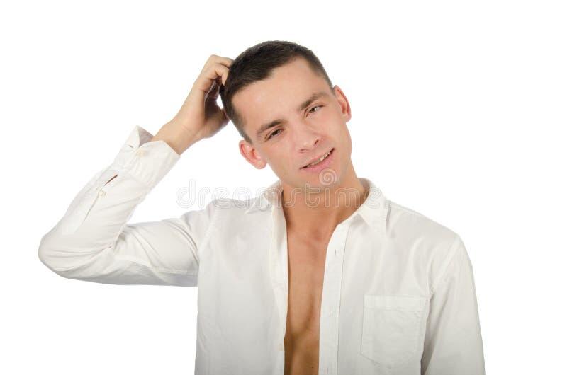 выбор трудный Молодой привлекательный парень думает Дело и проблемы стоковые фото