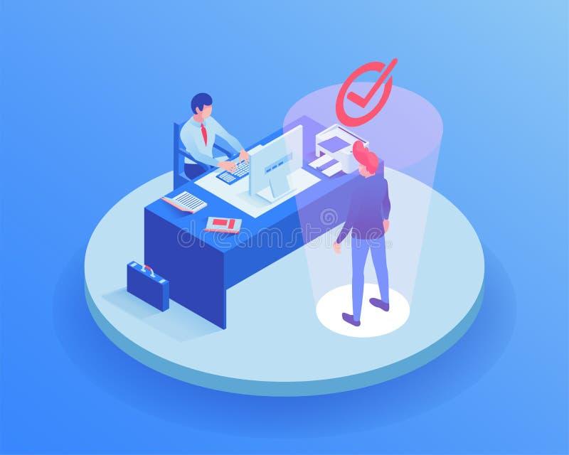 Выбранный на иллюстрации собеседования для приема на работу равновеликой Характер агента HR выбирая работодателя, CV работника чт иллюстрация вектора
