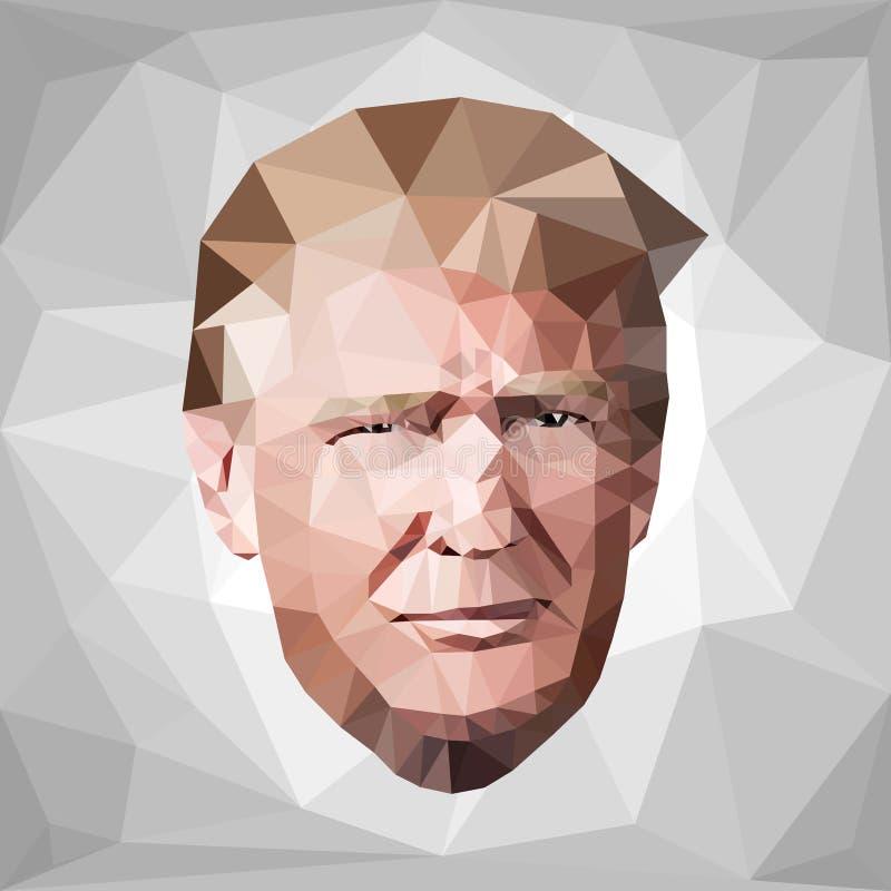 Выбранный низкий поли u козыря Дональда Джона портрета S иллюстрация вектора